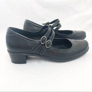Ecco double strap black Mary Jane pump heels 36